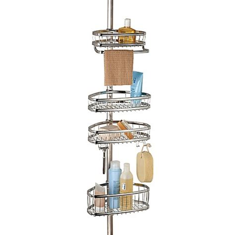 bed bath beyond shower caddy interdesign 174 york tension shower caddy bed bath beyond