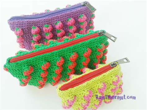 tutorial tas rajut strawberry dompet rajut tusuk strawberry rajutmerajut
