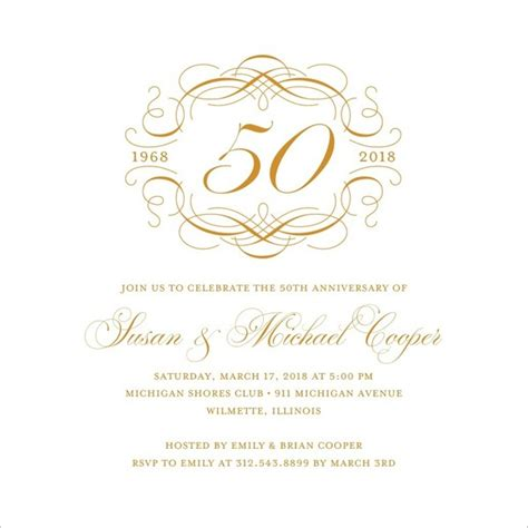 50th wedding anniversary card templates 20 wedding anniversary invitation card templates which