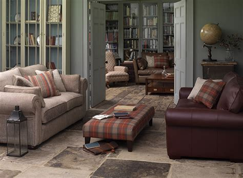 leather and fabric sofa in same room tartan country days