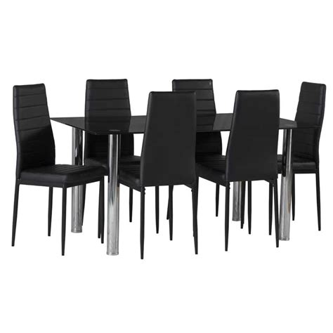 Dining Tables 6 Chairs Black Glass Dining Table 6 X Betty Dining Chair Decofurn Factory Shop