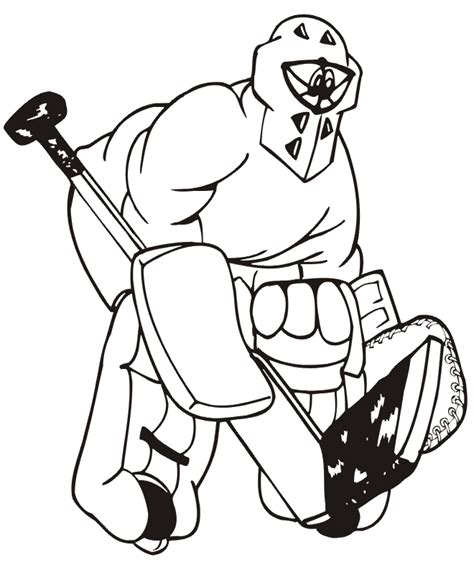 hockey coloring page goalie with giant stick