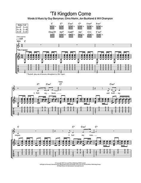 coldplay kingdom come til kingdom come guitar tab by coldplay guitar tab 110903