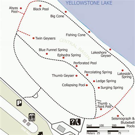 yellowstone geysers map yellowstone west thumb geyser basin trail map gif 725 215 724