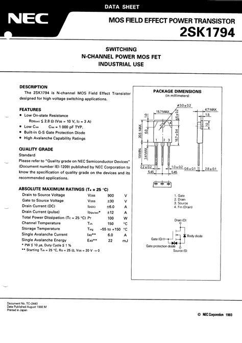 a1023 transistor datasheet pdf 2sk1794 datasheet 2sk1794 pdf switching n channel power mos fet datasheet4u