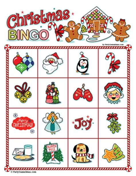 christmas bingo printable christmas party game