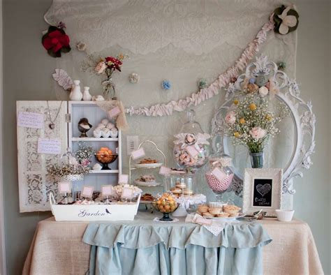 anthropologie and shabby chic style baby shower party