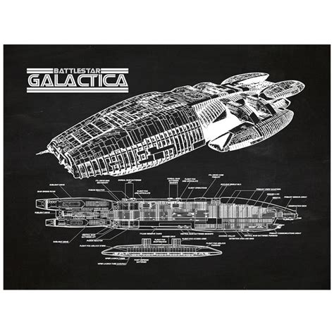 What Size Paper Are Blueprints Printed On by Battlestar Galactica Cutaway Wall Art Sci Fi Design