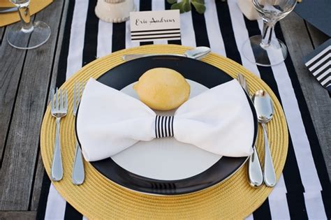 dessert tables on a budget inspiration bow ties modern yellow and black and white stripes wedding ideas