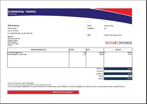 Notary Invoice Excel Invoice Templates Notary Invoice Template