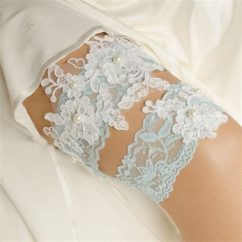 Lace Garter With blue lace pearl garter wedding garter blue bridal garter