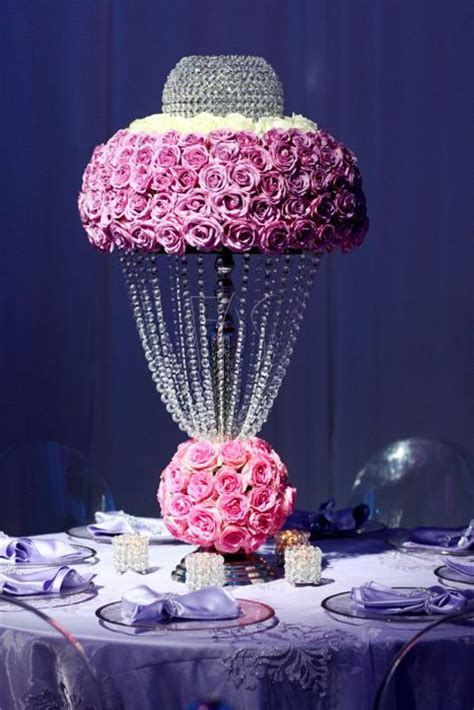 Unique Floral Centerpiece. Crystal and rose centrepiece