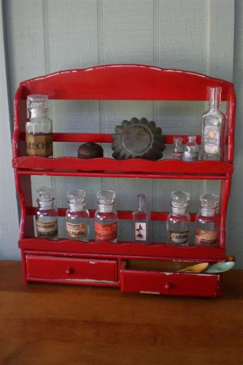 Red Spice Rack Vintage Spice Rack Apothecary Curio Shelf Cabinet Chest
