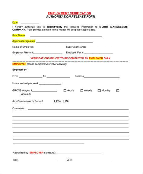 employment authorization form exle 10 sle verification of employment forms sle templates