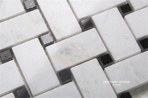 polished basket weave black and white marble mosaic