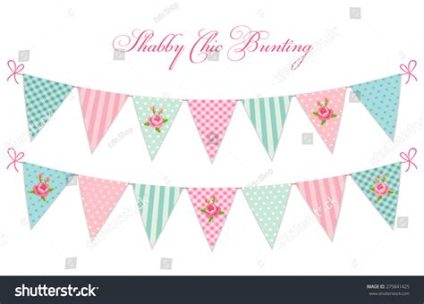 Bunting Flag Bridal Shower Vintage Banner Bridal Shower Flowers vintage shabby chic textile bunting stock vector