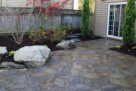 Slate Pavers For Patio Want A Fresh New Backyard Green Lawn Grown Trees Vines Garden Trees Grass Lawn