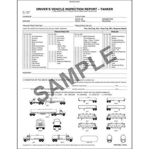 vehicle inspection report book detailed driver s vehicle inspection report w