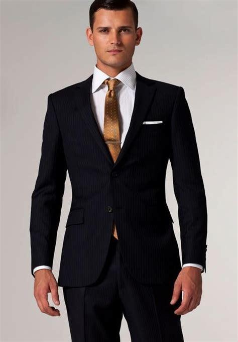 2018 Suits Brand Men Suit Navy & White Pinstripe Suit