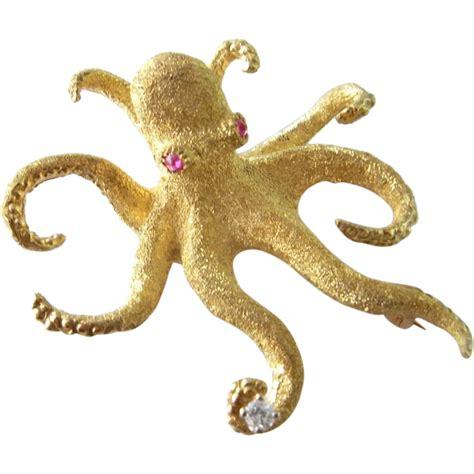 Octupus L by Octopus Brooch 18k Gold Pin Vintage Estate
