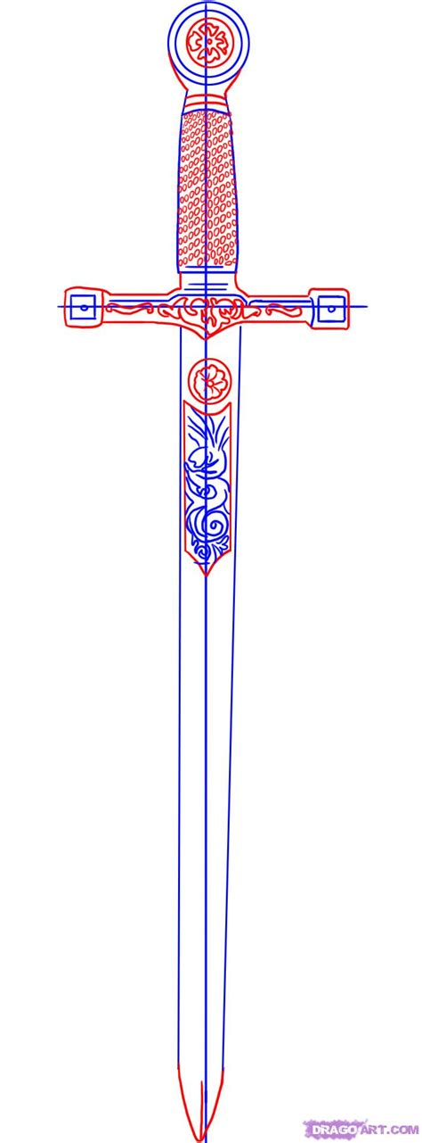 how to draw excalibur sword in the stone step by step