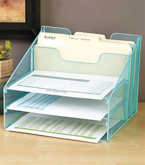 office supplies desk organizers new metal 5 compartment desktop file organizer home office