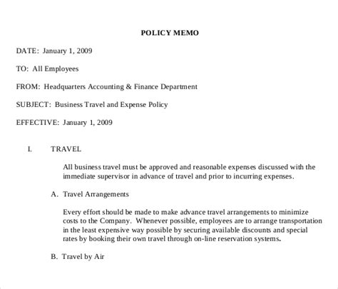 Company Travel Policy Template by 15 Policy Memo Templates Free Sle Exle Format