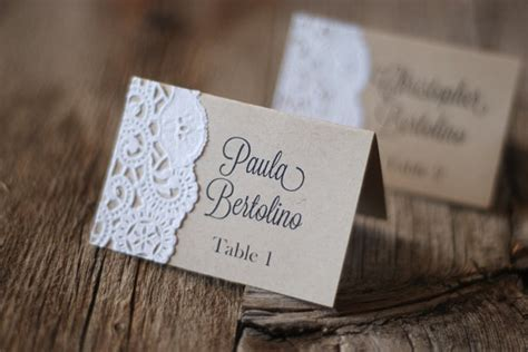 Handmade Place Cards - handmade rustic tented table place card setting custom