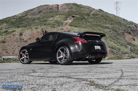 nissan 370z custom black car nissan 370z on vossen cv3 wheels california wheels