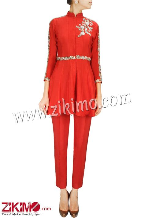 plazo suit look unique and stylish in this made to order red raw silk