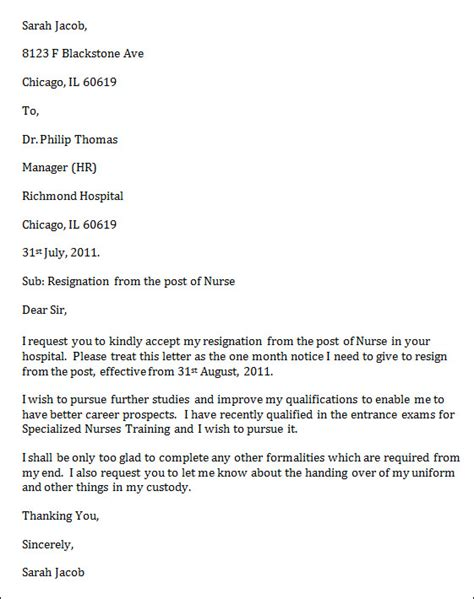Resignation Letter For Nurses by Sle Resignation Letter