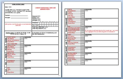homeschool elementary report card template homeschool high school report card template 28 images