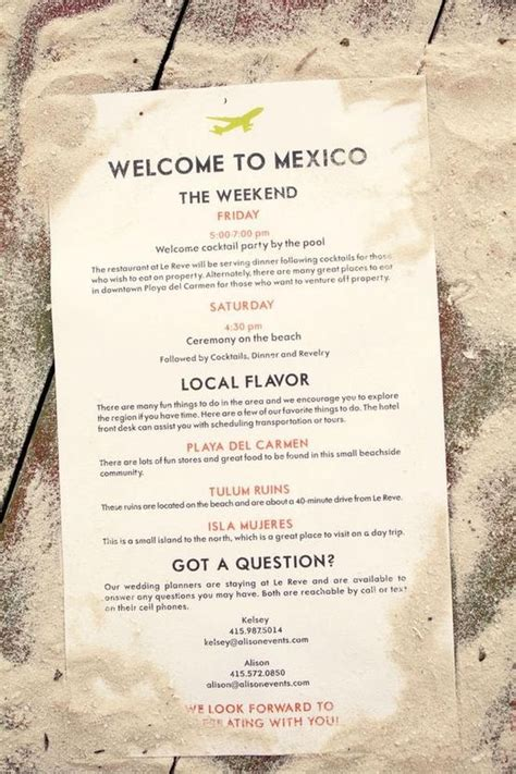 wedding welcome bag itinerary template destination wedding welcome page mexico destination
