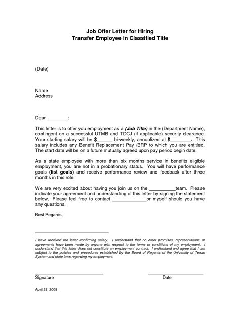 Offer Letters For New Employees Employment Offer Letter Sle Best Business Template
