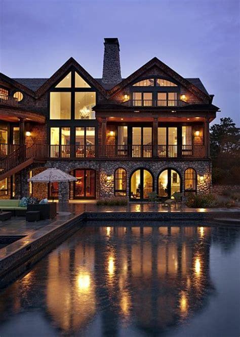 beautiful dream homes modern day log cabin mansion dream house pinterest