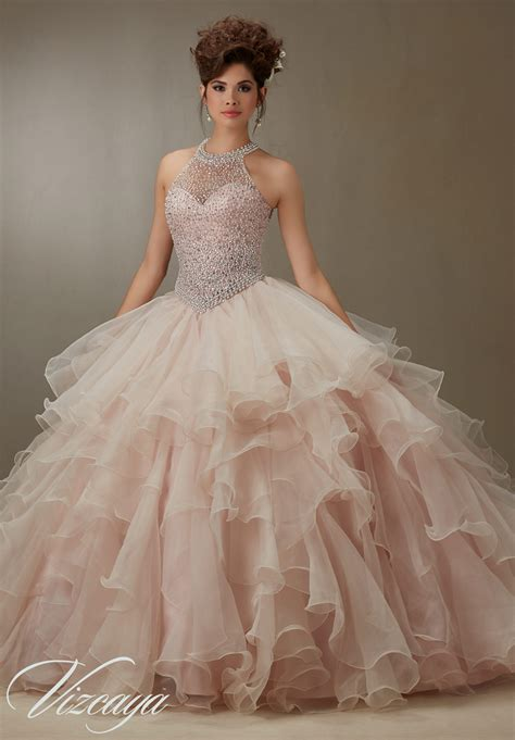pearl beaded dress ruffled organza skirt with pearl beaded bodice quinceanera