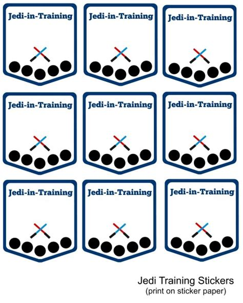 star wars party printable jedi training badges
