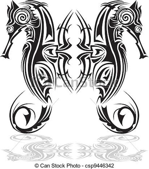 vector illustration of tribal arts a pair of seahorse