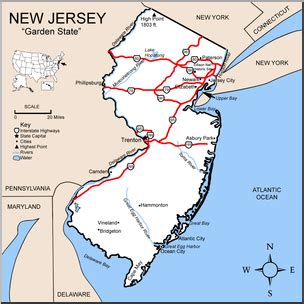 new jersey state colors clip us state maps new jersey color detailed i
