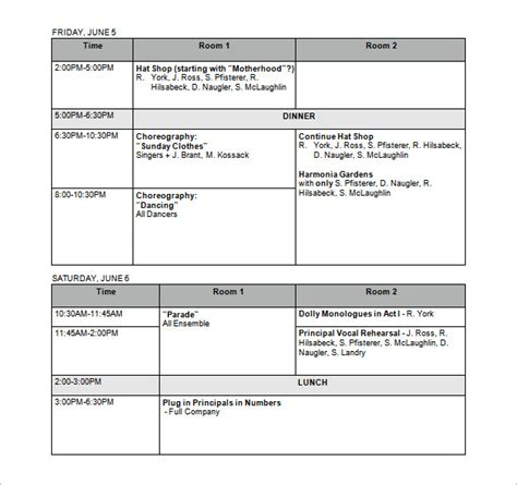 rehearsal report template rehearsal schedule templates 13 free word excel pdf