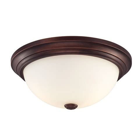 Shop Portfolio 15 98 In W White Flush Mount Light At Lowes Millennium Lighting Rubbed Bronze Flushmount Ceiling Light W Etched White Glass Shade On Sale