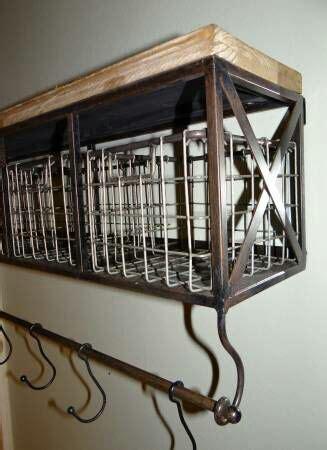 Black Metal Wood Shelf With Baskets 7 Hooks by Rustic Metal Wood Wall Shelf With Baskets 7 Hooks