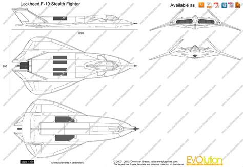 F Drawings Blueprints lockheed f 19 stealth fighter vector drawing