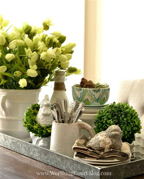 kitchen table decorations ideas kitchen table spring centerpiece on a galvanized steel