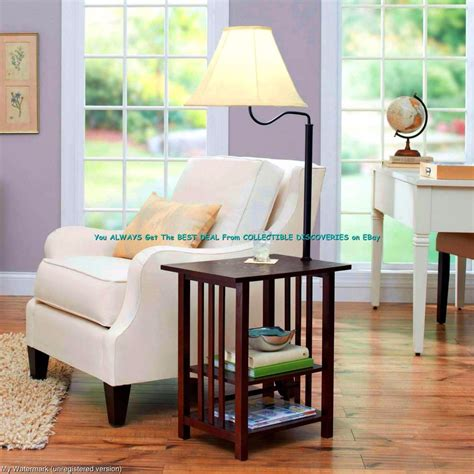 side table with built in l 54 quot rich dark wood end table built in 3 way floor lamp w