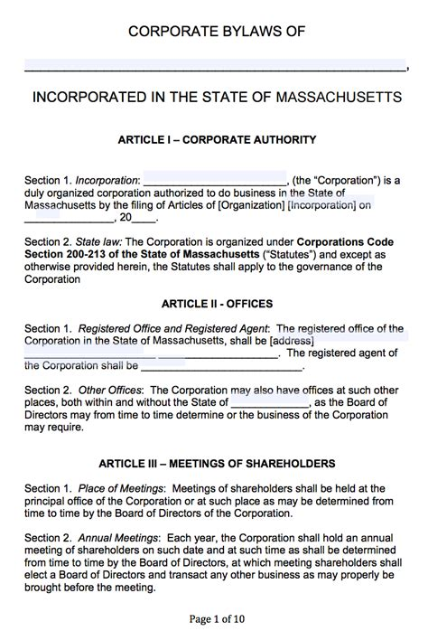 Corporate Bylaws Template Word Popular Sles Templates C Corp Bylaws Template