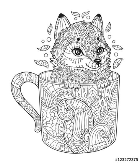 animal zendoodle coloring pages quot fox in cup adult antistress coloring page with animal in
