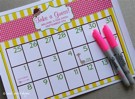 decorations take date printable due date calendar baby shower by