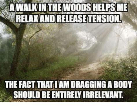 Irrelevant Meme - awalkin thewoods helpsme relakand releasetension the fact