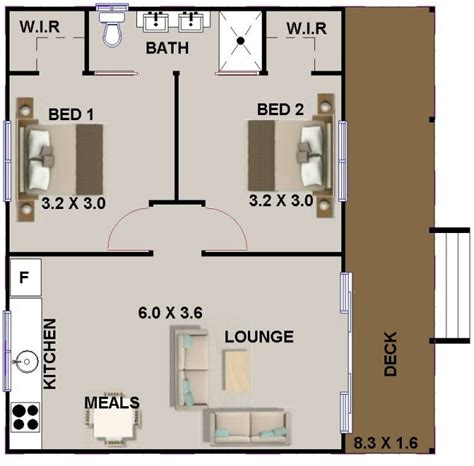2 Bed Room Small House Plan Or Granny Flat Australian 2 Bedroom House Designs Australia